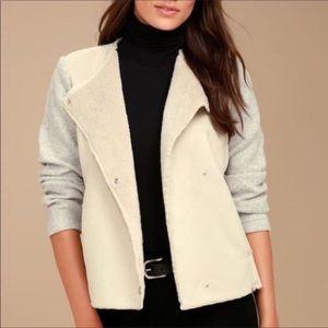 NWT BB Dakota Glenna grey/beige suede Sherpa coat